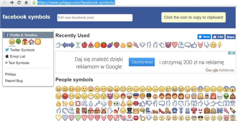 Ikony do postów Facebooku – skąd je wziąć?