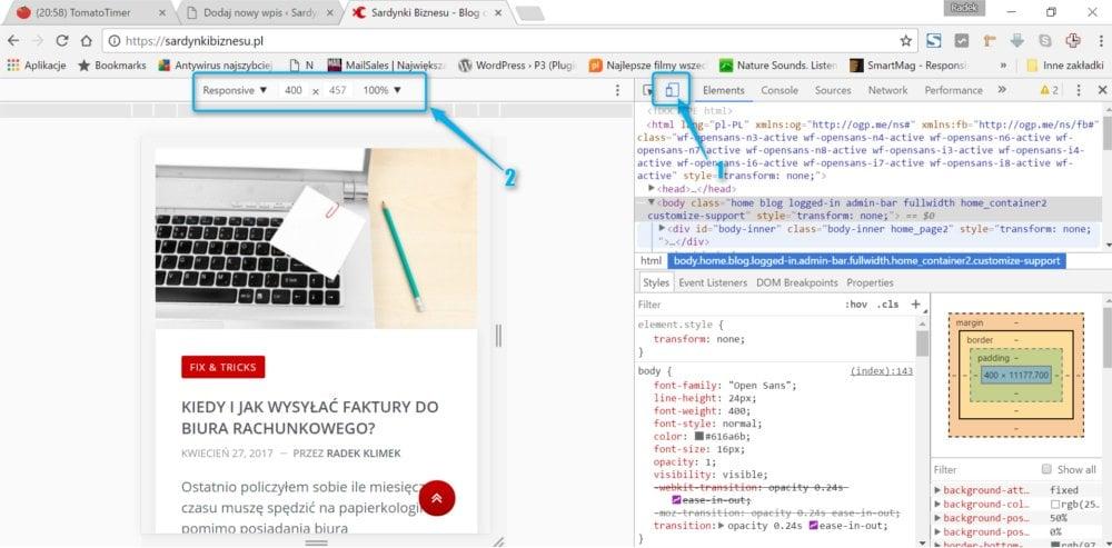 Jak szybko za pomocą dwóch kliknięć sprawdzić jak strona wygląda na smartfonie?