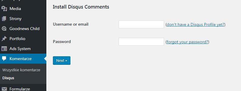 Logowanie do Disqus za pośrednictwem wtyczki WordPressowej