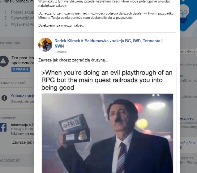 przykład irracjonalnego zablokowania konta na Facebooku za śmiesznego mema.