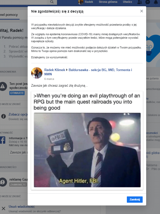blokada konto prywatne na facebooku przyklad