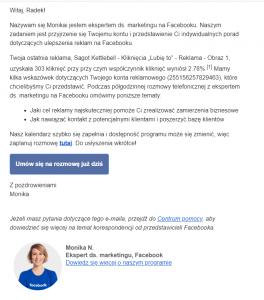 Menadżer reklam - kontakt z pracownikiem Facebooka