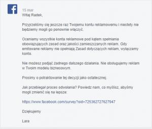 Przykład wiadomości wysłanej przy blokadzie konta na Facebooku.
