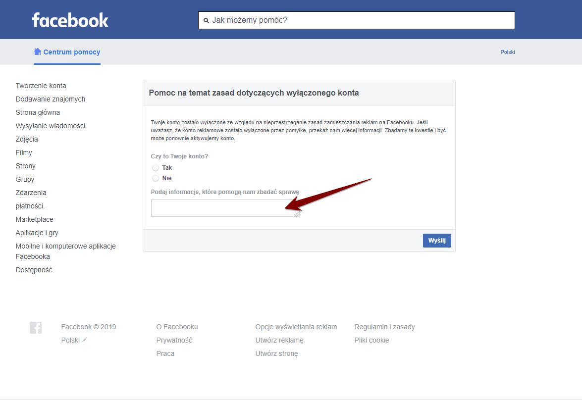 Odwołanie od blokady konta na Facebooku.