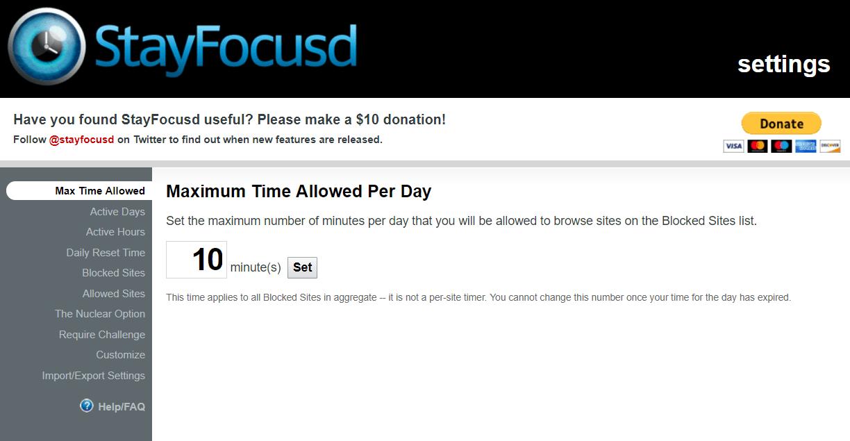 Program StayFocusd ograniczający dostęp do stron www.