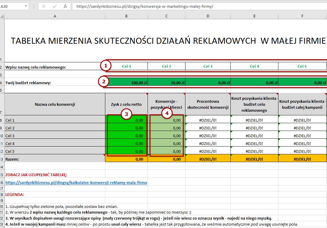 Jakie dane wpisać w tabelce mierzenia