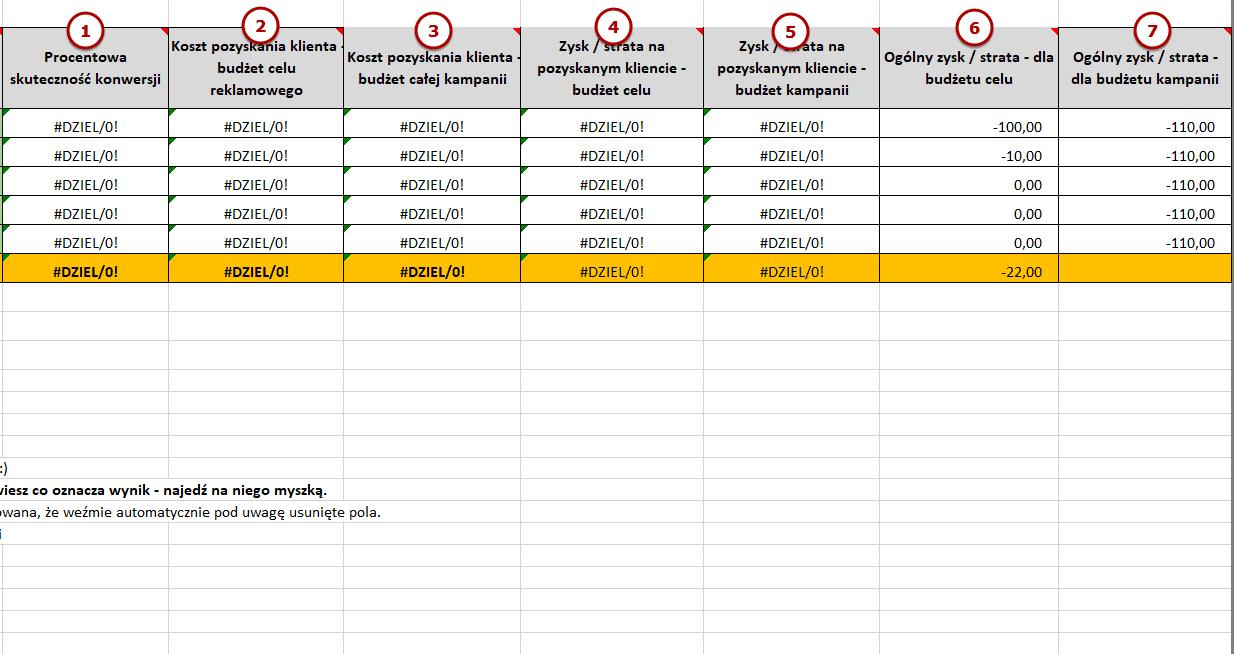 Tak wygląda gotowa tabelka mierzenia skuteczności działań reklamowych.
