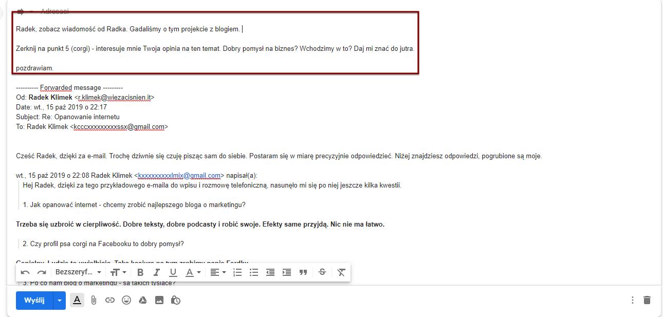 Przekazywanie e-maila przyklad