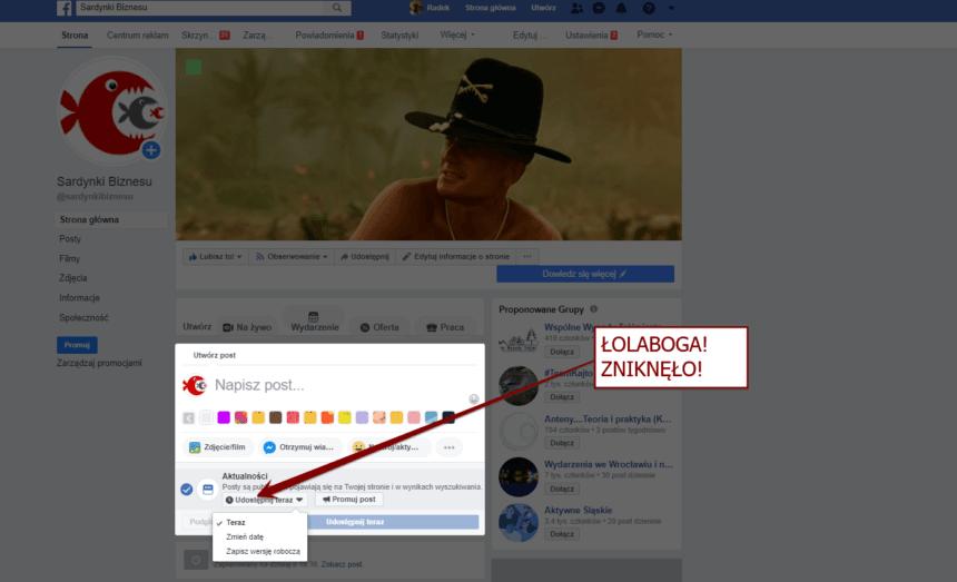 Zniknęła możliwość zaplanowania posta na Facebooku? Zobacz co zrobić!