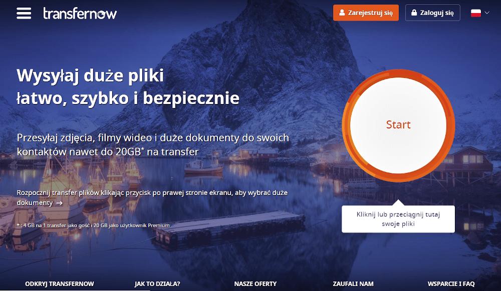 Aplikacja do przesyłania plików Transfernow.