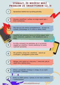 Druga część listy symptomów dotyczących uzależnienia od smartfona.