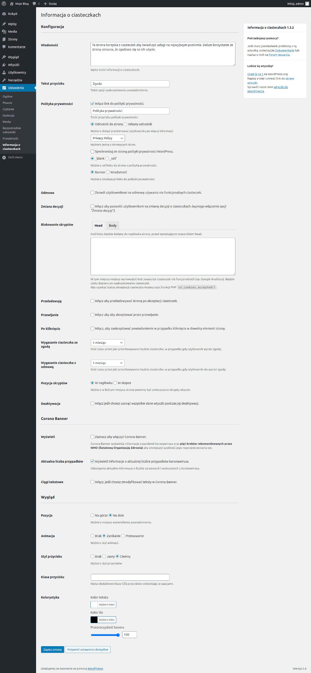 Jak skonfigurować wtyczkę WordPress służąca do wyświetlania polityki prywatności.