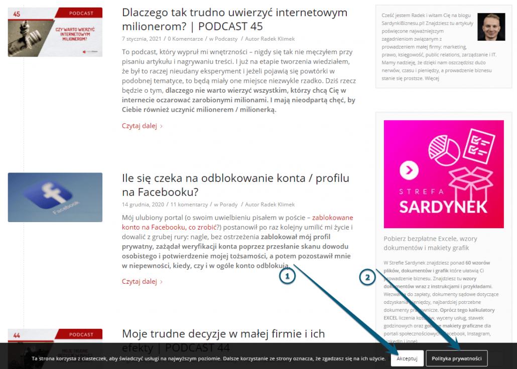 przykład cookies i polityki prywatnosci w banerze na stronie