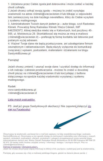 Stopka informacyjna w emailu - regulamin strony rodo i polityka prywatności przykład