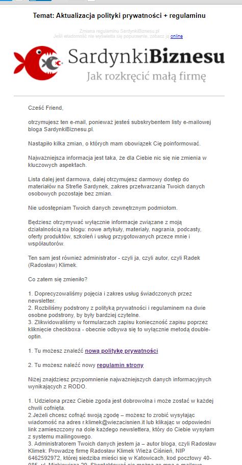 Przykład - newsletter (email) informacyjny o zmianie regulaminu strony