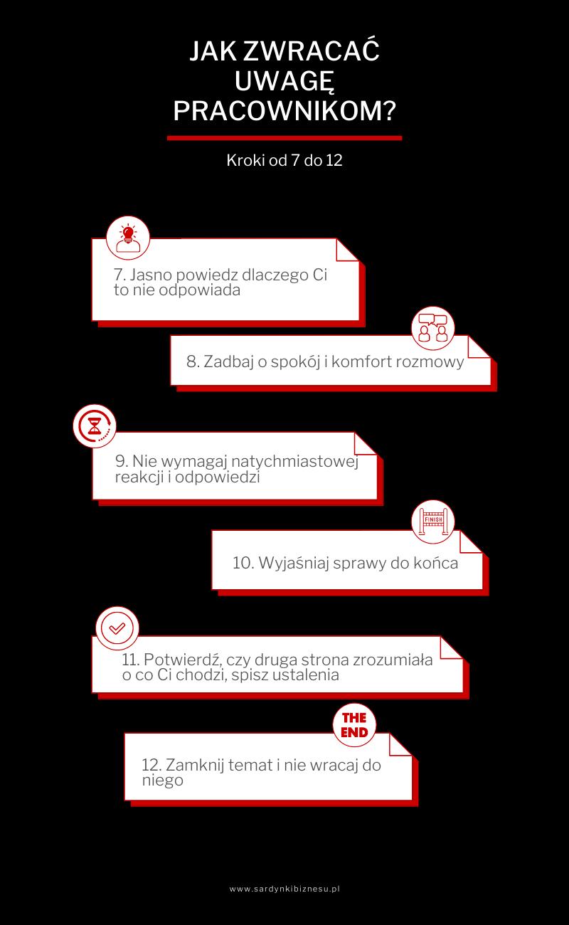 Jak zwracać uwagę pracownikowi - część 2 infografika